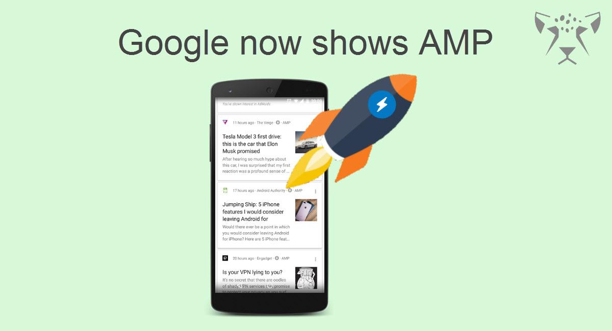 نمایش صفحات امپ در Google Now