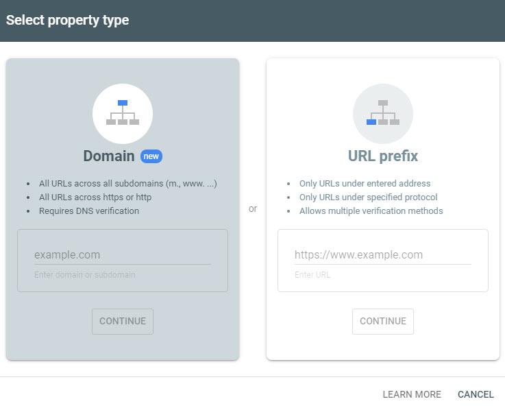 انتخاب نوع Property در گوگل سرچ کنسول