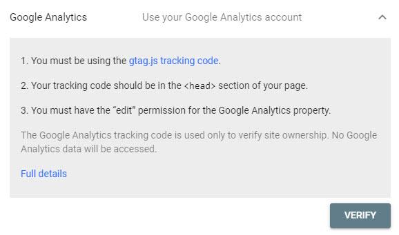 تایید مالکیت توسط گوگل آنالیتیکس برای گوگل سرچ کنسول