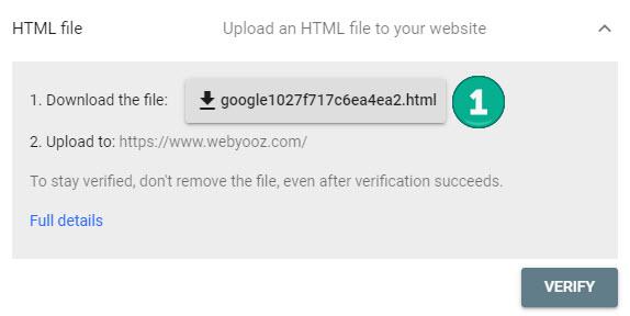 تایید مالکیت توسط فایل HTML برای گوگل سرچ کنسول