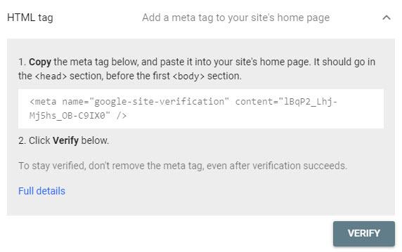تایید مالکیت توسط تگ HTML برای گوگل سرچ کنسول
