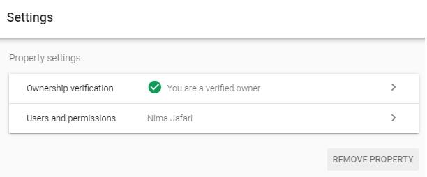 تنظیمات Property در گوگل سرچ کنسول