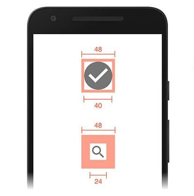 ابعداد توصیه شده touch element در موبایل
