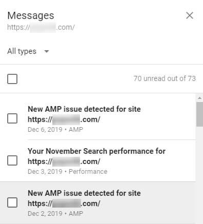 پیام های گوگل سرچ کنسول