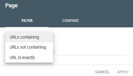 فیلتر Page در گزارش Performance سرچ کنسول