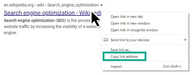 کپی کردن آدرس لینک در صفحه نتایج گوگل