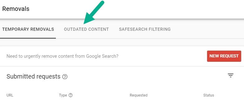 مشاهده درخواست های حذف Outdated content