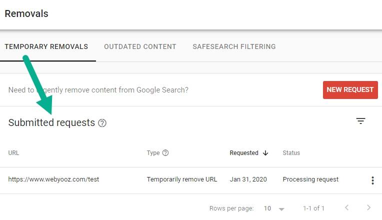 وضعیت درخواست های حذف URL ثبت شده در سرچ کنسول