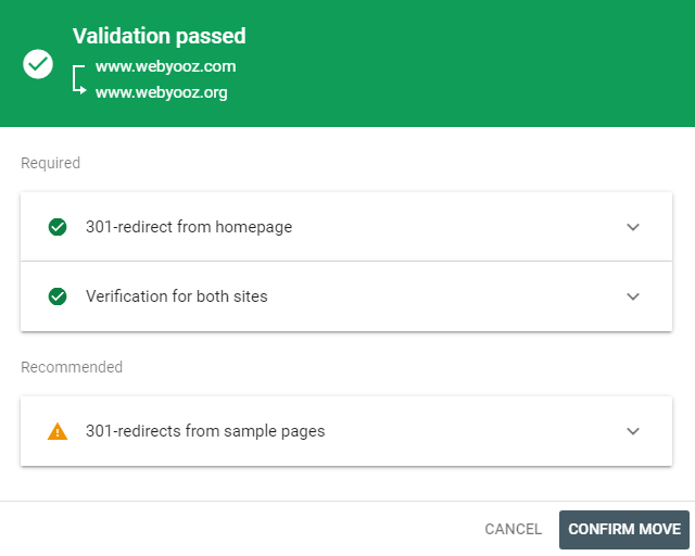 Change of Address Validation Passed