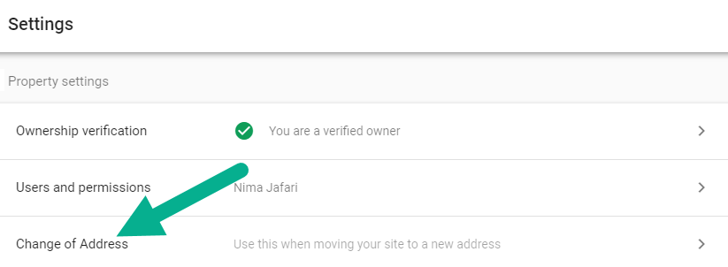 ابزار Change of Address سرچ کنسول