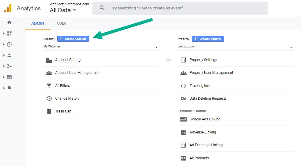 دکمه ایجاد اکانت در گوگل آنالیتیکس