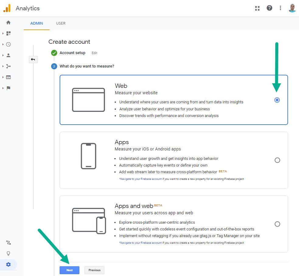 مرحله دوم ایجاد اکانت در گوگل آنالیتیکس