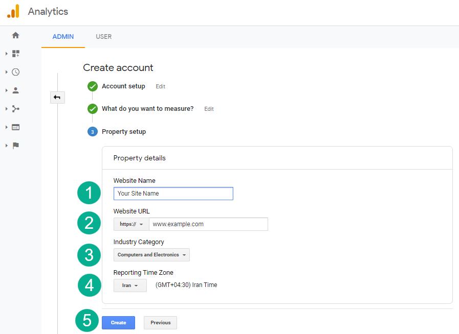 مرحله سوم ایجاد اکانت در گوگل آنالیتیکس