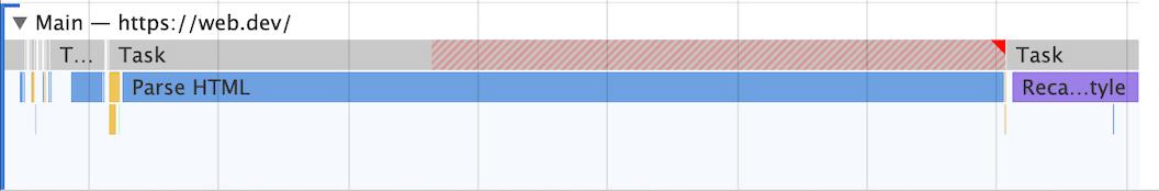 Long tasks در DevTools گوگل کروم در پنل Performanc